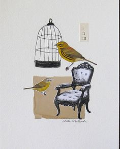 Collage drawing Life with Birds by ColetteCopeland on Etsy