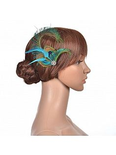 Bridal Hair Flower with Peacock Feathers and Rhinestone - AUD AU$9.34