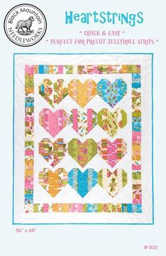 Heartstrings - quilt pattern by Black Mountain Quilts at The Calico Cottage Quilt Shop, your home for premium quilt fabric, patterns and notions Lap Quilt Patterns, Heart Quilt Pattern, Sewing Patterns, Square Patterns, Block Patterns, Heart Patterns, Jellyroll Quilts, Easy Quilts, Mini Quilts