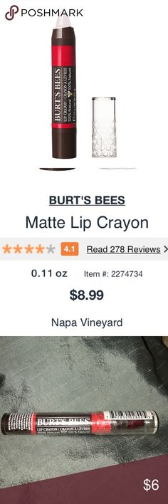 🦄 Burt's Bees 🐝 Lip Crayon The Napa Vineyard shade is a rich red in a matte finish. Enriched with conditioning Jojoba Oil and Kendi Oil in Omega 3 to hydrate and moisturize lips and Shea Butter for that extra dose of moisture. The no sharpening precision tip makes it easy to apply this creamy lip color crayon. This product is made with 100% natural ingredients and the packaging is 100% recyclable. Burt's Bees Lip Crayon makes lips look and feel smooth and beautiful. NOT SEPHORA Sephora…