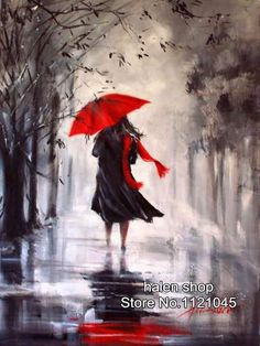 Woman with red umbrella in the rain painting. Umbrella Painting, Rain Painting, Umbrella Art, Arte Black, Black Art, Rain Art, Love Art, Painting Inspiration, Amazing Art