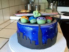 a super cool teenage mutant ninja turtles cake for a themed birthday party