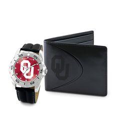 Oklahoma Sooners NCAA Men's Watch & Wallet Set
