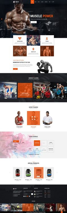 BeFit is clean and modern design PSD Template for #gym and #fitness centers website with 4 homepage layouts and 40 layered PSD pages to live preview & download click on Visit #psdmockups