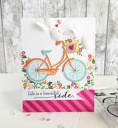 Pedal Pusher Revisited: Life Is A Beautiful Ride Card by Danielle Flanders for Papertrey Ink (February 2016)