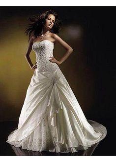 Beautiful Elegant Divine Taffeta A-line Wedding Dress In Great Handwork