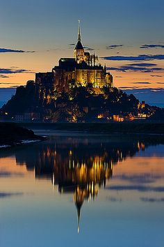 Evening Reflection of Mont St. Michel ~ Normandy, France