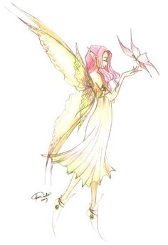 Beautifully drawn fairy with pink hair and butterfly