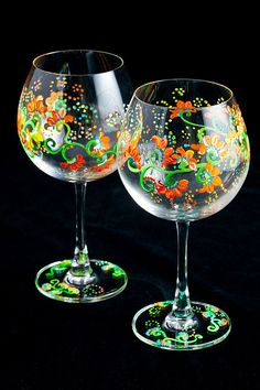 Hand Painted Wine Glass by ZoraidasArt on Etsy, $40.00