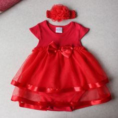 >> Click to Buy << Hot Sale Baby Jumpsuit Cute Bow Baby Girls Red Princess Tutu Dress Rompers+Headband Set Newborn Toddle Infantil Baptism Costume #Affiliate