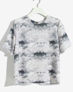 Grey Short Sleeve Zipper Cloud Print Chiffon Blouse - Sheinside.com