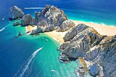 Lovers Beach on the left side, Divorce Beach on the right side - Cabo San Lucas, Mexico