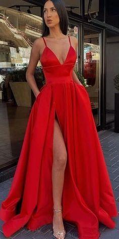 red prom dress A-line Spaghetti Strap Side Slit Long Bridesmaid Prom Dresses Senior Prom Dresses, Pretty Prom Dresses, Prom Outfits, Ball Dresses, Long Dresses, Red Prom Dresses, Red Satin Prom Dress, Elegant Dresses, Sexy Dresses