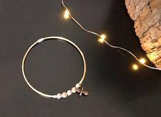 Bracelet jonc couleur or rosé naissance charm tétine