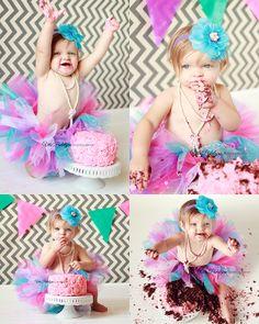 baby girl first birthday cake smash photo shoot ... pink rosette cake, fluffy tutu.  Vita Podolyan Photography https://www.facebook.com/vitapodolyanphotography