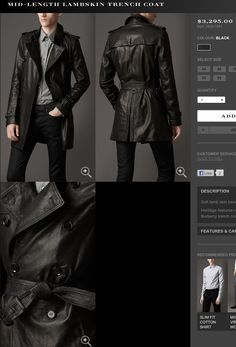 Burberry Mens leather trench coat fall 2013