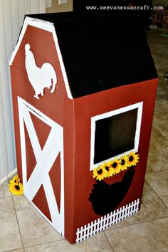 Barnyard Theme: (diy tutorial) cardboard box barn diy games (diy tutorial) cardboard box barn - See Vanessa Craft Barnyard Party, Farm Party, Farm Birthday, Animal Birthday, Carton Diy, Diy Karton, Prop Box, Barn Wood Crafts, Cardboard Crafts