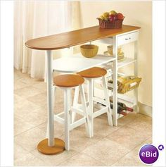 New 3 Shelf Breakfast Bar Table W/ Stools, Drawer Storage Space, And Wine  Rack
