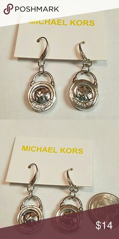 MK silver lock earrings MK silver lock earrings inspired fashion jewelry silvertone Jewelry Earrings