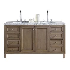 James Martin Signature Vanities Chicago 60 in. W Double Vanity in Whitewashed Walnut with Marble Vanity Top in Carrara White with White Basin