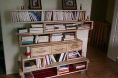 image12 600x399 Pallet bookshelves with wine boxes in pallet home decor pallet living room  with pallet bookshelves