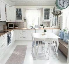 79 White Shabby Chic Kitchen Cabinets charming cottage eat in kitchen with table in the middle and window White Furniture, Kitchen Furniture, Kitchen Decor, Kitchen Design, Kitchen Tables, Shabby Chic Kitchen Cabinets, Kitchen Wall Shelves, Shabby Chic Bedrooms, Shabby Chic Decor