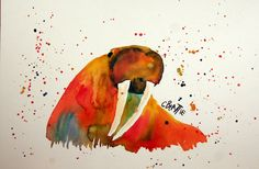 "Walrus - Original watercolor painting by artist Connie Beattie. Size 10"" x 15"" on illustration board. $89.00, via Etsy."
