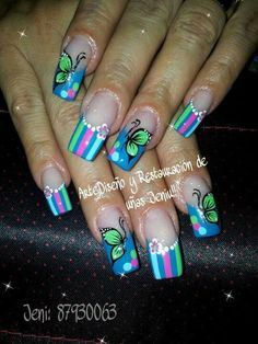 nice make up Luv Nails, Pretty Nails, Nancy Nails, Butterfly Nail Designs, Sculptured Nails, French Tip Nails, Creative Nails, Cool Nail Designs, Projects