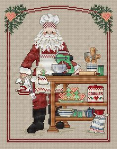Cookie Santa (with charm) - Cross Stitch Pattern