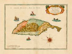 A 1650 French map of the the island of Saint Kitts Saint Christopher Saint-Christophe by Nicolas Sanson