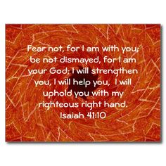 Bible Verses Inspirational Quote Isaiah 41:10 Post Card