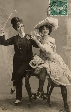 couple cross dress | edwardian crossdressing toasting postcard photo Beth-mawg's photos ...