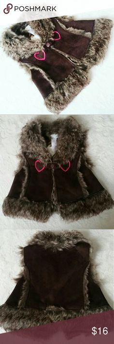 Little Girls Faux Suede and Fur Vest This adorable vest is NWT. Material info in photos. SO SOFT! Size 18 months. First Impressions Jackets & Coats Vests