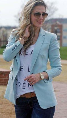 Blazer outfits 98 blazers for women, women's blazers, blazer outfits . Blue Blazer Outfit, Blazer Outfits For Women, Look Blazer, Outfit Jeans, Blazers For Women, Casual Outfits, Women Blazer, Casual Blazer, Ladies Blazers