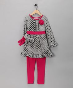 Take a look at this Gray & Pink Ruffle Tunic & Leggings - Girls by Rare Editions on #zulily today!
