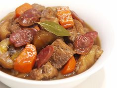Pork estofado is a stewed pork dish served with fried plantains. It is a common Ilonggo dish. They're from the Visayas region of the Philippines.