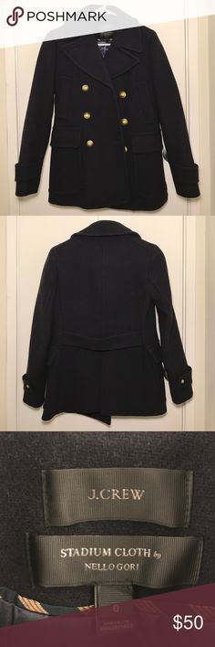 J.Crew wool pea coat Fully lined navy blue wool pea coat by J.Crew in women's size 0. Brand new, never worn, without tags J. Crew Jackets & Coats Pea Coats