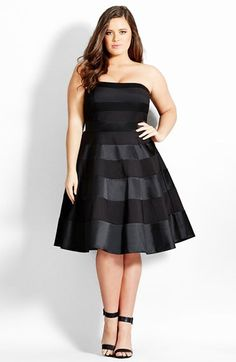 Women's City Chic 'Miss Shady' Stripe Strapless Fit & Flare Party Dress Plus Size