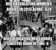 Bills regulating women's bodies in 2013 alone: 624. Bills regulating men's bodies since the dawn of time: 0. #feminism #progressive