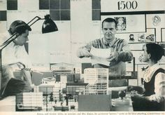 Charles and Ray Eames work on the Revell Toy House, not yet in production, but maybe one day?  With staff member Gordon Ashby