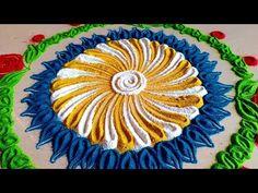 How make creative and colourful rangoli design Very Easy Rangoli Designs, Colorful Rangoli Designs, Beautiful Rangoli Designs, Kolam Designs, Simple Rangoli, Indian Rangoli, Diwali Rangoli, Rangoli Colours, Diwali Decorations