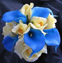 Navy blue and silver colors with calla lillies with pearls for a wedding | Natural Touch Bouquet Blue Calla lily Yellow Rose Lily ...