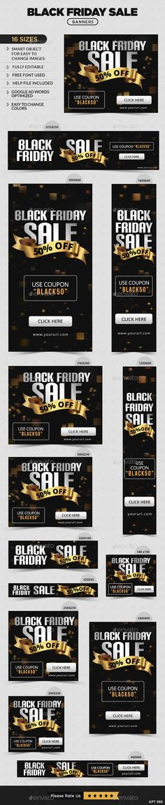 Black Friday Sale Web Banners Template PSD #design #ads #promotion Download: http://graphicriver.net/item/black-friday-sale-banners/13547139?ref=ksioks