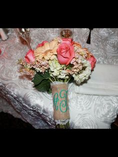 Monogram Burlap and lace bouquet wrap.