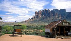 View of the Superstition Mountains fron Goldfield, Arizona