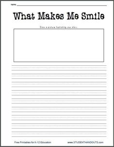 What Makes Me Smile Free Printable K-2 Writing Prompt Worksheet for Little Kids