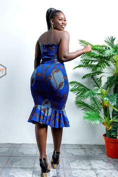 African Print Skirt, Mid Length Skirts, Printed Skirts, Strapless Dress, Cotton Fabric, Plus Size, Flare, Curves, Elegant