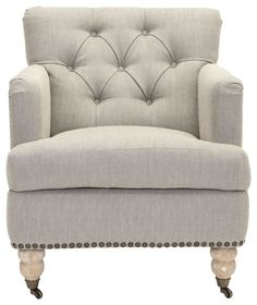 Colin Tufted Club Chair - Brown/ Cream Tweed contemporary-chairs