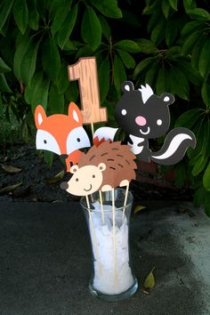 Woodland Creatures Party Center Piece Sticks by PaperPartyParade Fox Party, Animal Party, Baby First Birthday, First Birthday Parties, Birthday Ideas, Bebe Love, Woodland Party, Woodland Theme, Woodland Nursery