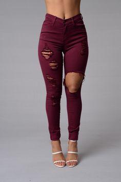 Glistening Jeans - Burgundy $39.99